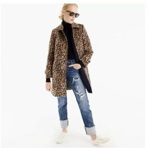 J. Crew New Aool Snow Leopard Top Coat H2734